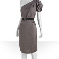 BCBGMAXAZRIA mulberry mist sateen pleated front one shoulder dress | BLUEFLY up to 70% off designer brands
