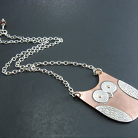 Owl Necklace Copper and Sterling Silver Mixed Metal Handmade Pendant Necklace