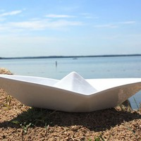 Paper Boat Serving Bowl in White