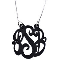 Black Acrylic Script Cutout 1 1/2 Inch Monogram Necklace - Max & Chloe