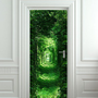 Door wall sticker forest green tunnel rabbit hole wanderland 30x79&quot;