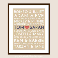 Famous Couples Subway Print - 8x10 Fully Customizable - Unique Wedding, Valentines or Anniversary