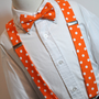 Suspenders and Bowtie Set Boys or Mens Orange and by MeandMatilda