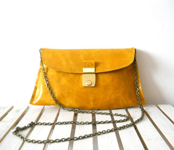 Beautiful leather clutch with vintage buckle  Beautiful by Smadars