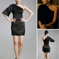 Elastic Silk-like Satin Sheath/ Column One Shoulder Short/ Mini Cocktail Dress inspired by Senera in Gossip Girl co1070 - Celebrity Dresses - Apparel