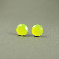 Neon Yellow Earring Studs - Neon Earring Posts - Yellow Earring Studs - Faceted Rhinestone Earring Studs