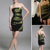 Taffeta Sheath/ Column Strapless Short/ Mini Cocktail Dress inspired by Jenny in Gossip Girl co1217 - Celebrity Dresses - Apparel