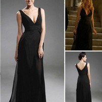 Chiffon Satin Sheath/ Column V-neck Floor-length Evening Dress inspired by Senera in Gossip Girl co1135 - Celebrity Dresses - Apparel