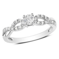 Lab-Created White Sapphire and Diamond Accent Twine Promise Ring in Sterling Silver - View All Rings - Zales