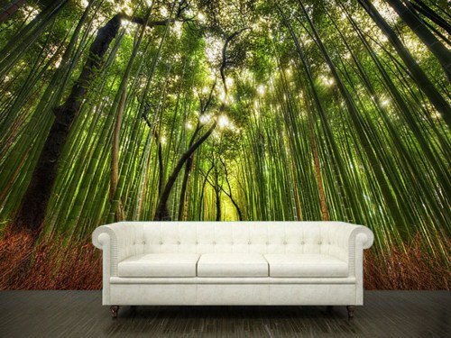 Wall sticker bamboo forest green trees from pulatonartfire on for Bamboo forest wall mural