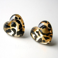 Free Shipping Leopard Print Heart Earring Studs by MistyAurora