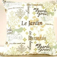 Pillow Covers Blue Green Brown Script Birds Le by PookieandJack