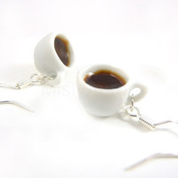 Miniature White Coffee Cups on Sterling Silver by MistyAurora