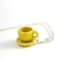 Tea Coffee Cup and Saucer Yellow on Chain Necklace by MistyAurora