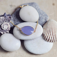 Wedding Jewelry Sea Foam lavender lilach purple large Chalcedony stone Vermeil gold frame simple delicate ,elegant gemstone bracelet  israel