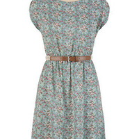 Belted Ditsy Floral High-Low Hem Dress