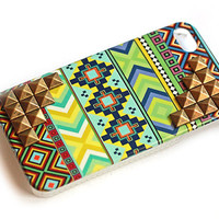 Tribal print iphone 4 case with studs in blues and greens, cellphone cover, Hard case, iPhone Cover, cover for Android,