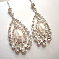 Chandelier earrings bridal earrings rhinestone and by treasures570