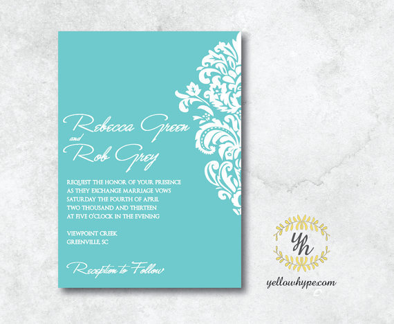 Tiffany Blue Cream Bow Damask Wedding Invitation - Hot ...