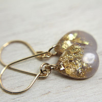 lavender purple teardrop earrings on 14k gold fill earwires - glitter earrings drop earrings