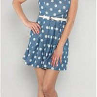 Denim Belt Blue Dot Dress - 29 and Under