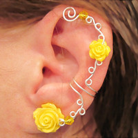"Non Pierced Ear Cuff  ""Roses are Yellow"" Cartilage Conch Cuff Silver tone Prom, Wedding"