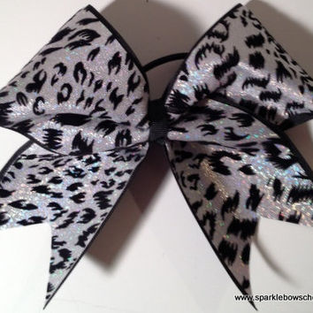 Cheetah Cheer Bow Mini Childrens Hair Bow by SparkleBowsCheer