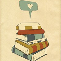 Reading Print Art &quot;I READ&quot; Digital Illustration, Books Love Poster, Books Illustration / Drawing Art, Library Print, Books Print