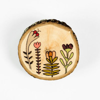 Flowers illustrated wooden brooch by depeapa on Etsy