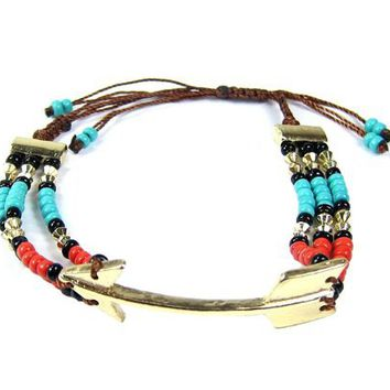 Arrow Friendship Function GOLD TURQUOISE RED with Beads Adjustable