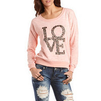 """Love"" Studded French Terry Sweatshirt: Charlotte Russe"