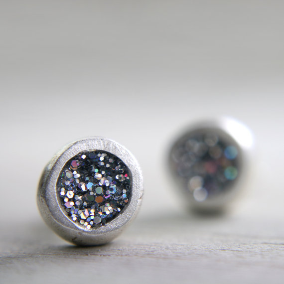 organic fine silver post earrings with iridescent by tinygalaxies