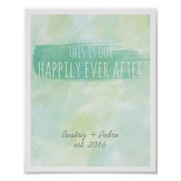 Our Happily Ever After Print Personalized Couple Watercolor Poster from Zazzle.com