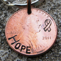 Cancer Awareness Ribbon HOPE  Hand Stamped by DesignByAnyOtherName
