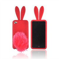 Buy Apple iPod Touch 4 Silicone Case w/ Fur Tail Stand - Red Bunny Free Shipping AccessoryGeeks
