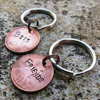Hand Stamped Best Friend Penny set by DesignByAnyOtherName on Etsy