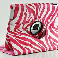 New iPad 4 3 2 360 Zebra Pink Magnetic Leather Case Smart Cover Swivel Stand