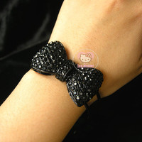 Wholesale HOT CUTE Black CRYSTAL Big BOW Bracelet Holiday gifts A20