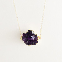 Amethyst cluster 24k gold necklace