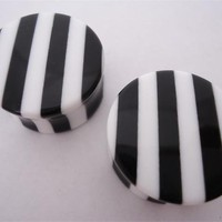 Black & White Striped Plugs (2 gauge - 1 inch)
