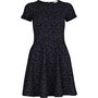 Navy floral jacquard cut out skater dress