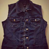 Denim Jean Vest Cutoff Jean Jacket Upcycled Clothing Hipster Tumblr Grunge