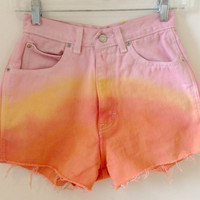 High Waisted Jean Shorts Orange Yellow Pink Dip Dye Hipster Tumblr Grunge