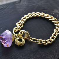 Gold Chain Bracelet with Amethyst Point and Winged by MarcieRoxx