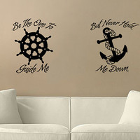 "Home Decor ""Helm and Anchor"" Home Decor Wall Vinyl Decal"