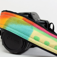 dSLR Camera Strap, One of a Kind,  Watercolors 8, Tie dye, Pink, Blue, Orange, Yellow, Green