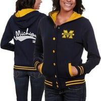 Michigan Wolverines Ladies Navy Blue Varsity Blues Full Button Hoodie Sweatshirt
