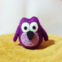 Needle Felted Owl -  miniature owl  figure - 100% merino wool - purple owl - wool felt owl