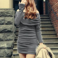 Sexy Off Shoulder Long Sleeve Slim Pleated Evening Party Cocktail Mini Dress