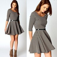 New Womens European Fashion Houndstooth Stylish 2/3 Sleeve Dress With Belt B898